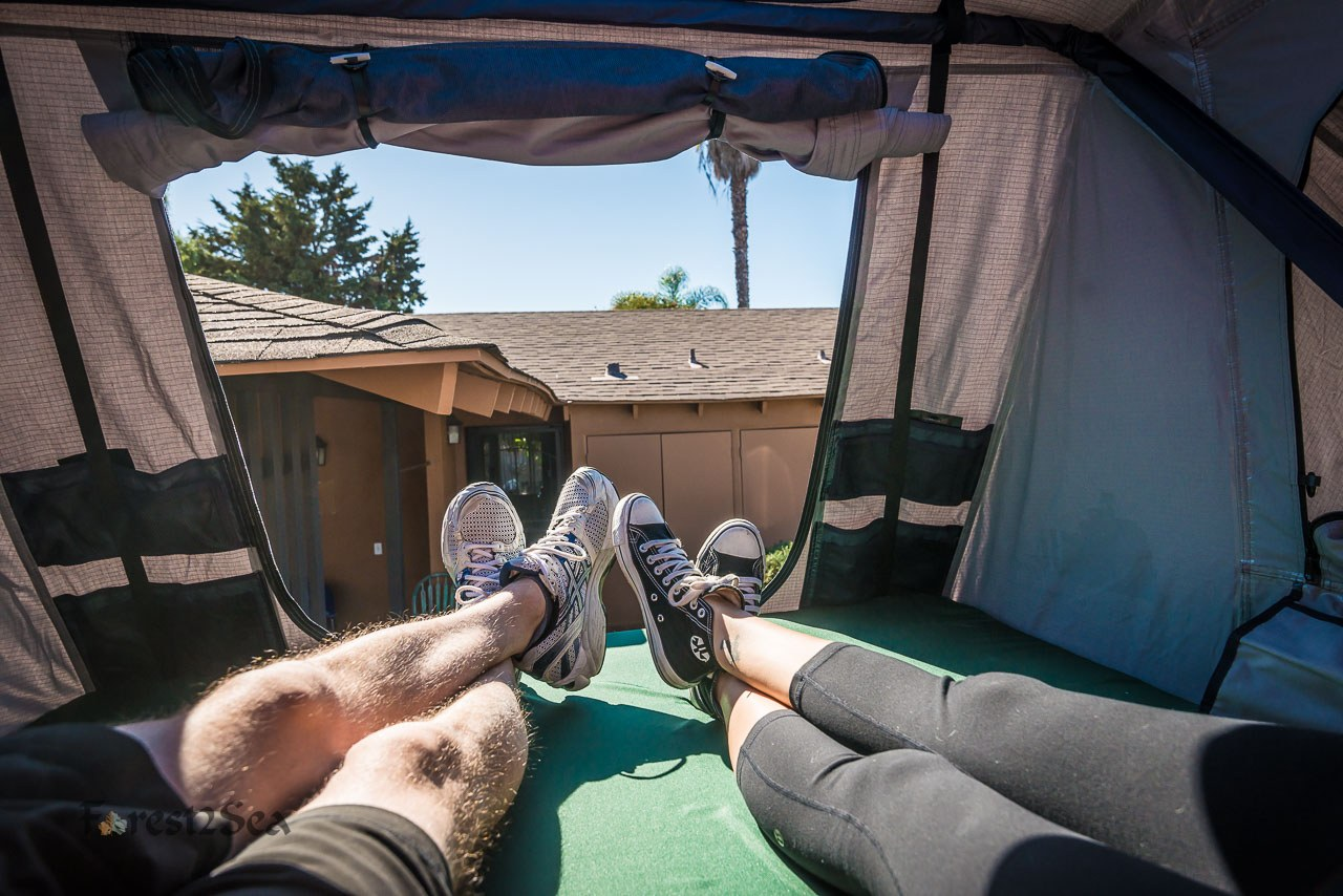 Testing out the roof top tent