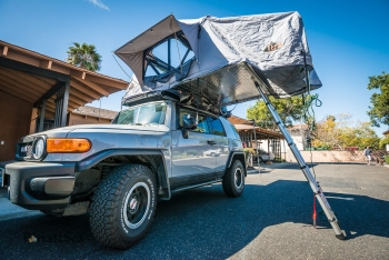 Our FJ with the ARB awning and Tepui roof top tent up